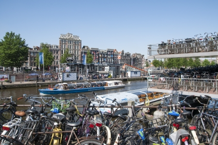 AMSTERDAM, HOLLAND - MAY 28: busy bicycle parking lot close to the central station. May 28, 2012 in Amsterdam. It is estimated that there are about 550 thousand bikes in Amsterdam.