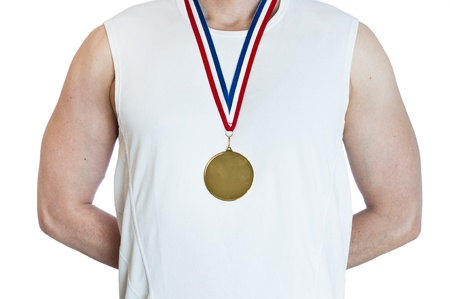 Cropped torso of man standing in attention wearing blank sports gold medal. Stock Photo