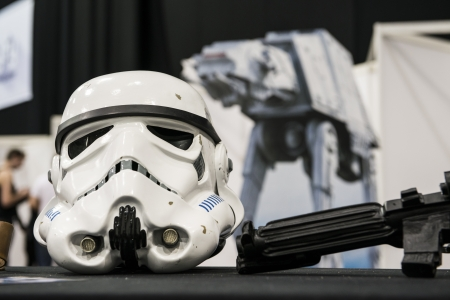 LONDON, UK - OCTOBER 28: Display of replicas of Star Wars' Storm Trooper helmet on display at the London Comicon MCM Expo. October 28, 2012 in London. Stock Photo - 15986367