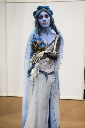 LONDON, UK - OCTOBER 28: Cosplayer impersonating Tim Burton's Corpse Bride poses for photographers at the London Comicon MCM Expo. Most participants dress up in superhero costumes to compete in the Euro Cosplay Championship. October 28, 2012 in London.