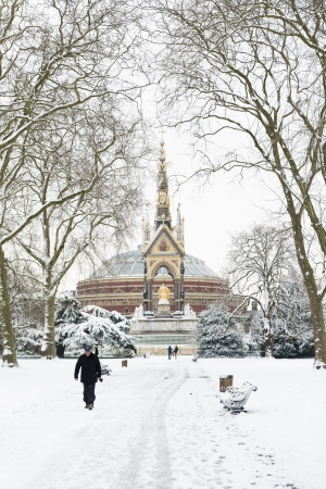 LONDON, UK - JANUARY 21: Hyde Park covered in snow with Albert Memorial in the background after three days of blizzards. January 21, 2013 in London.