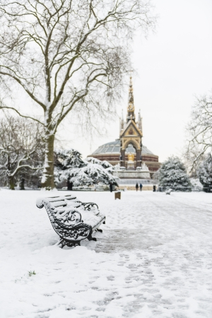 Hyde Park covered in snow with Albert Memorial in the background after three days of blizzards.