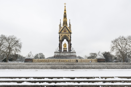 Albert Memorial in covered in snow after three days of blizzards.