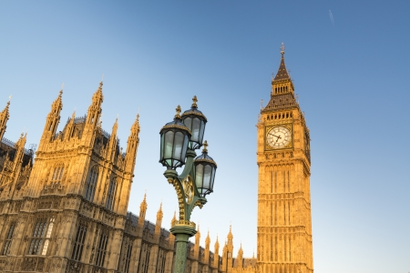North face of Big Ben with Houses of Parliament, in London, UK Stock Photo