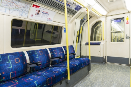 LONDON, UK - APRIL 07: Interior of empty Northern line underground train showing access doors. April 07, 2013 in London. Editorial