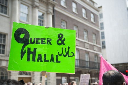 LONDON, UK - JUNE 29: Muslim gay poster in Baker Street at the Gay Pride parade in Baker Street. June 29, 2013 in London.