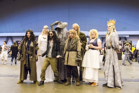 earls court: LONDON, UK - JULY 06: Cosplayers of the film The Hobbit posing for pictures at the London Film and Comic Convention at the Earls Court Two Exhibition Centre. July 06, 2013 in London.