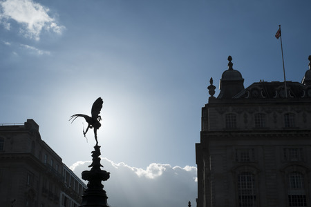 LONDON, UK - MARCH 14: Silhouette of Alfred Gilberts statue of Eros in Piccadilly Circus. March 01, 2014 in London.