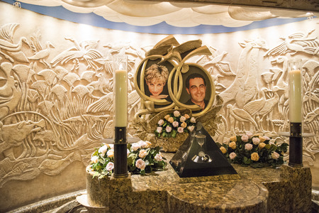 LONDON, UK - AUGUST 13: Memorial do Princess Diana and Dodi Al Fayed in Harrods. The memorial was constructed in 1998, one year after the couple died in a car crash. August 13, 2013 in London.