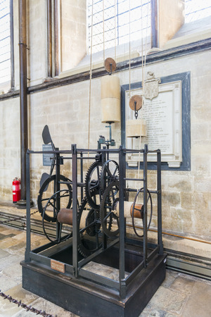 SALISBURY, UK - AUGUST 17: The Salisbury Cathedral clock is the oldest working clock in the world, dating back from 1386. August 17, 2013 in Salisbury.