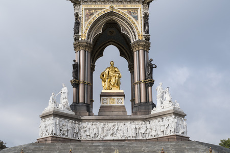 LONDON, UK - SEPTEMBER 15: The Albert Memorial in Kensington Gardens, seen from the front. September 15, 2013 in London.