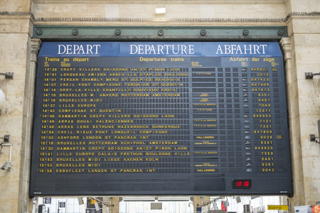 Paris, FRANCE - OCTOBER 21: Departures board in Gare ru Nord showing names of European cities. October 21, 2013 in Paris. Editorial