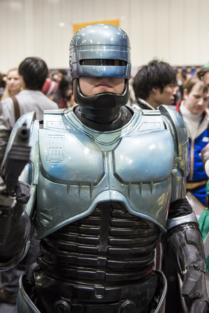 LONDON, UK - OCTOBER 26: Cosplayer dressed as Robocop for the Comicon at the Excel Centre's MCM Expo. October 26, 2013 in London.