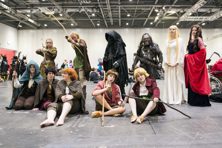 LONDON, UK - OCTOBER 26: Cosplayers dressed as characters from the film the Hobbit in the Comicon at the Excel Centres MCM Expo. October 26, 2013 in London.