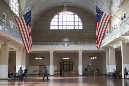 NEW YORK, US - NOVEMBER 22: Registration hall in Ellis Island where arriving immigrants went through health inspection. November 22, 2013 in New York.