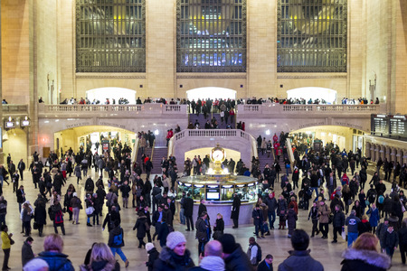 NEW YORK, US - NOVEMBER 26: Interior of the Grand Central Station during rush hour. November 26, 2013 in New York.