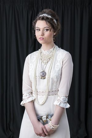 Neo-Victorian model in white dress Stock Photo