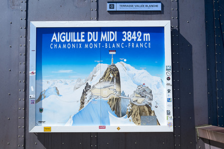 aiguille: CHAMONIX, FRANCE - SEPTEMBER 02: Aiguille du Midi complex illustration. At 3842 meters, the complex offers close views of the Mont Blanc summit. September 02, 2014 in Chamonix.
