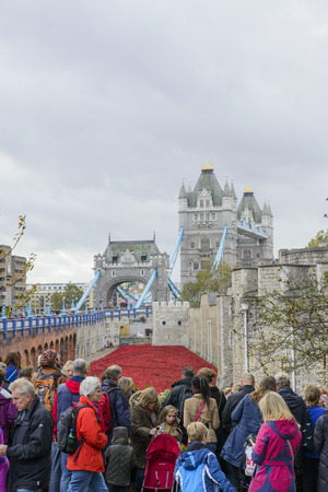 LONDON, UK - NOVEMBER 08: Crowd admiring art installation by Paul Cummins at Tower of London. November 08, 2014 in London. The ceramic poppies were planted to mark the centenary of WWI Editorial