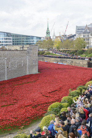 cummins: LONDON, UK - NOVEMBER 08: Crowd admiring art installation by Paul Cummins at Tower of London. November 08, 2014 in London. The ceramic poppies were planted to mark the centenary of WWI Editorial