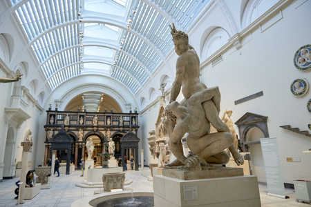 LONDON, UK - DECEMBER 20: Statue of Samson slaying a Philistine, by Giambologna, at the Victoria and Albert museum