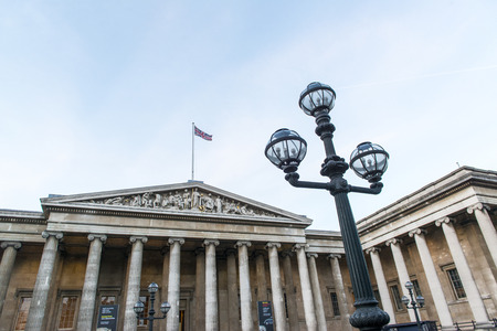 lamp post: Lamp post with entrance to the British Museum in the background. January 17, 2015 in London.