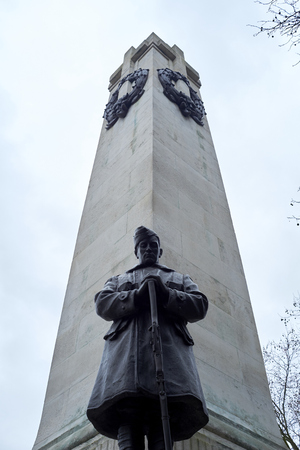 ww1: Detail of WW1 memorial in Euston Station, in London. The monument was erected in memory of the Northwestern Railway Company members who died at the war. Editorial