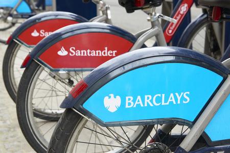 boris: LONDON, UK - MARCH 28: Detail of Boris bikes in line. March 28, 2015 in London. On 27 February 2015. Mayor Boris Johnson secured Santander