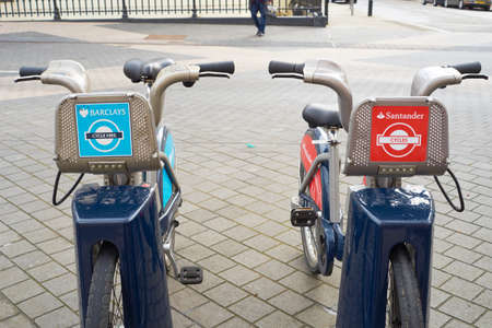 boris: LONDON, UK - APRIL 02: Detail of Boris bikes in line. April 02, 2015 in London. On 27 February 2015. Mayor Boris Johnson secured Santander Editorial