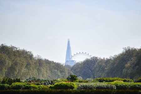 LONDON, UK - APRIL 22:  The Shard and London Eye seen from Kensington Gardens, framed by trees on a sunny spring day. April 22, 2015 in London.