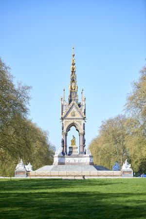 side shot: LONDON, UK - APRIL 22: Side shot of Albert Memorial in Kensington Park on sunny spring day. April 22, 2015 in London. Editorial