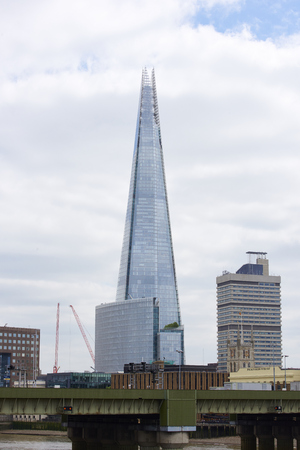 blackfriars bridge: LONDON, UK - JUNE 23: The Shard seen from Blackfriars bridge. June 23, 2015 in London.
