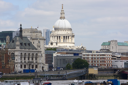 saint pauls cathedral: LONDON, UK - JUNE 23: Dome of Saint Pauls cathedral seen from the South Bank. June 23, 2015 in London.