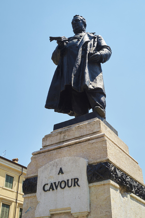 cavour: Low angle shot of statue of Cavour in Verona, Italy.