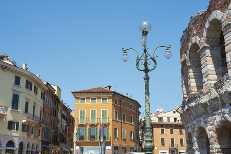 lamp post: VERONA, ITALY - JULY 13: Low angle shot of lamp post in Piazza Bra. July 13, 2015 in Verona. Editorial