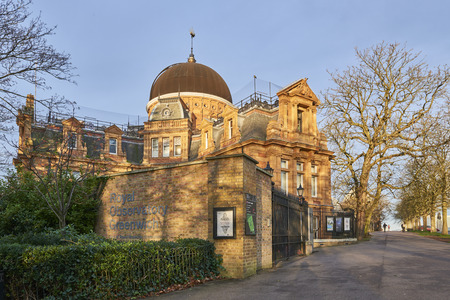greenwich: LONDON, UK - DECEMBER 28: Back of the Royal Observatory Greenwich, next to the meridian line. December 28, 2015 in London.