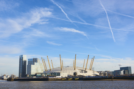 LONDON, UK - DECEMBER 28: The O2 Centre, formerly known as Millennium Dome, in a sunny blue sky day. December 28, 2015 in London. Editorial