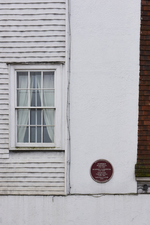 manufacturer: TUNBRIDGE WELLS, UK - JANUARY 26: Plaque outside house where Humphrey Borrows Snr and, later, Humphrey Borrows Jnr lived and manufactured Tunbridge ware. January 26, 2016 in Tunbridge Wells. Editorial