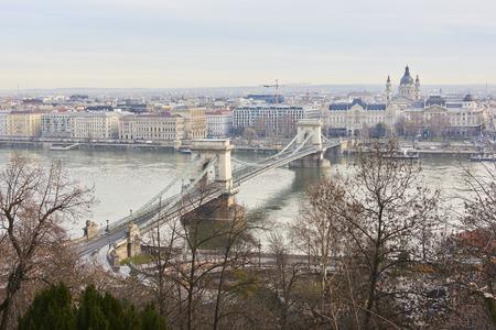 high angle shot: High angle shot of Szechenyi Chain Bridge accross Danube River. February 02, 2016 in Budapest, Hungary. Stock Photo