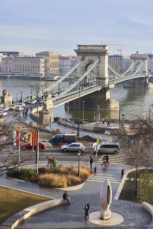 the chain bridge: BUDAPEST, HUNGARY - FEBRUARY 02: High angle shot of Szechenyi Chain Bridge with heavy traffic, accross Danube River. February 02, 2016 in Budapest.