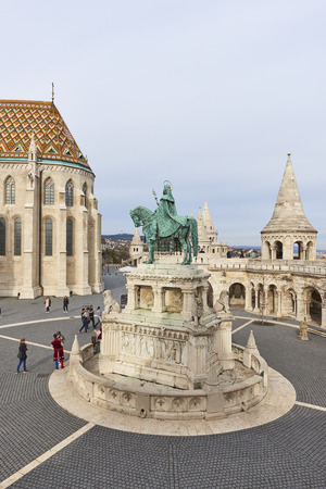 castle district: BUDAPEST, HUNGARY - FEBRUARY 02: High angle shot of Fishermans Bastion, with bronze statue of Saint Stephen, in the Old Town district. February 02, 2016 in Budapest.
