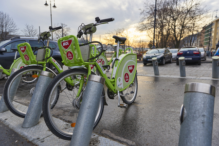BUDAPEST, HUNGARY - FEBRUARY 02: Low angle shot of Bubi, Budapests bicycle hire scheme. February 02, 2016 in Budapest. Editorial