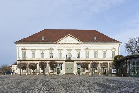 BUDAPEST, HUNGARY - FEBRUARY 02: Facade of Sandor Palace. February 02, 2016 in Budapest. Editorial