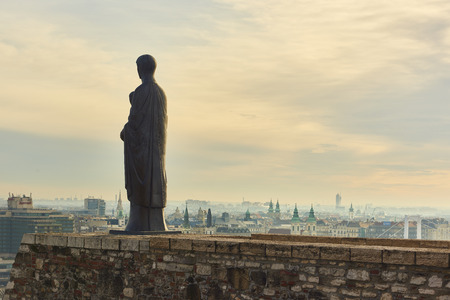 BUDAPEST, HUNGARY - FEBRUARY 02: Bronze statue of Virgin Mary by sculptor Laszlo Matyassy outside Buda Castle, overlooking Budapest city across the Danube river. February 02, 2016 in Budapest.