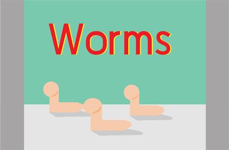 three worms Ilustracja
