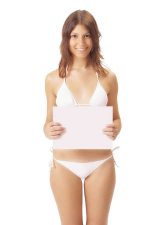Sexy girl in bikini showing a poster photo