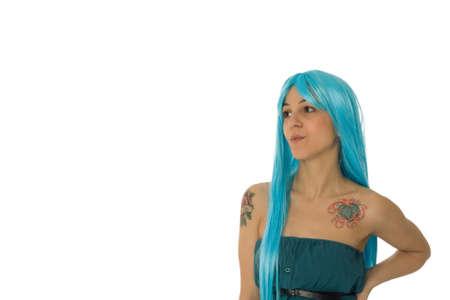 tatoos: Fashion portrait of a young beautiful woman  Stock Photo