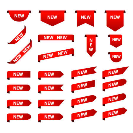 New tag red sign - concept stiker label set. Discount sale price tags labels stikers. Icons isolated. Flat design style. Icon set. Sale, Big Sale, Winter, Autumn, Spring, Summer, Season, New sales. 矢量图像
