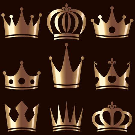 Set of golden royal crowns vector illustration