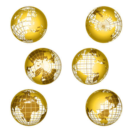 Earth grid gold globes set. World map globe transparent. 3d sphere wires, earth network vector isolated set.
